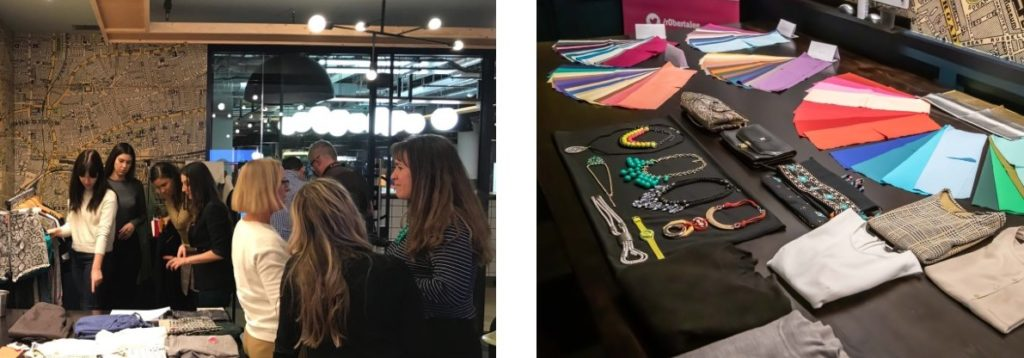 image 1: Sustainable Styling Workshop with personal stylist and sustainable style expert, Roberta Lee. Clients Personal Shopping, networking and exploring pre-loved clothes on a rail in London.  image 2: Carefully curated  pre-loved accessories and colour swatches