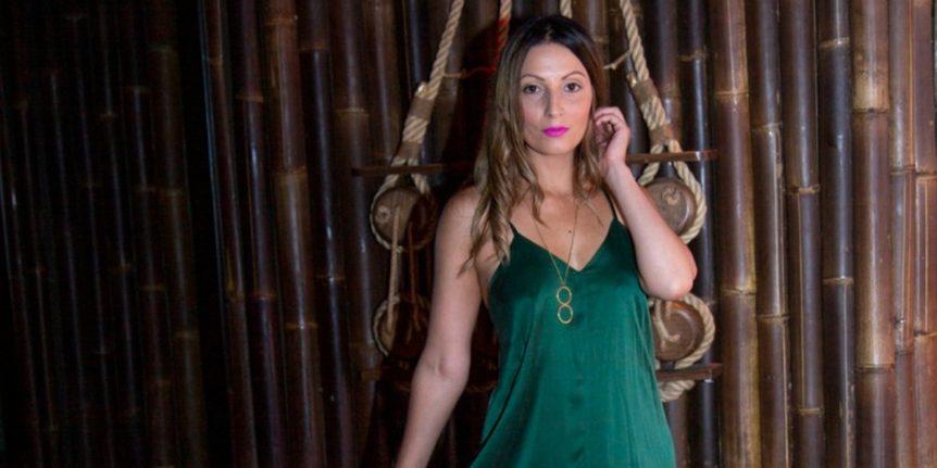 Roberta Lee - Green Goddess Dress - Ophilia - Belles of London - Silk Dress