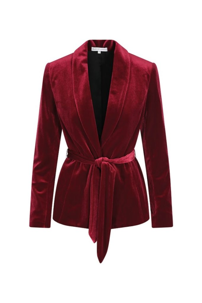 Belles of London - Noelle Red Velvet Soft Tailored Jacket  £150.00