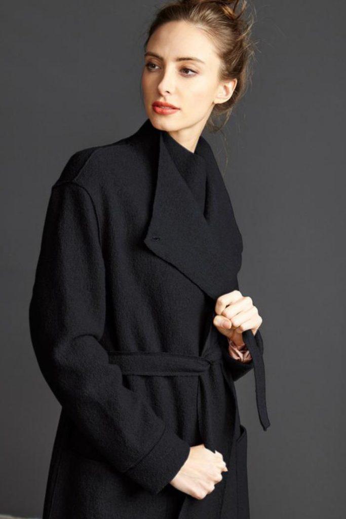 mi apparel | TALLULAH X Navy Coat in NAVY by Langerchen £220