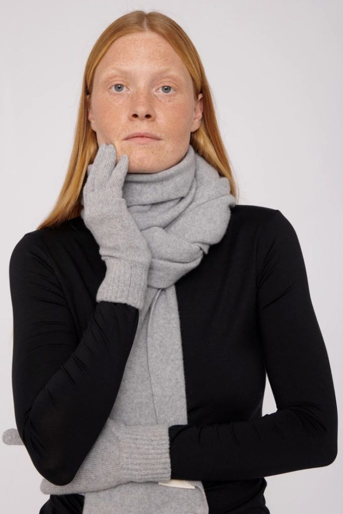 Organic Basics Recycled Grey Winter Scarf £140 & Grey Winter  Cashmere Gloves £52
