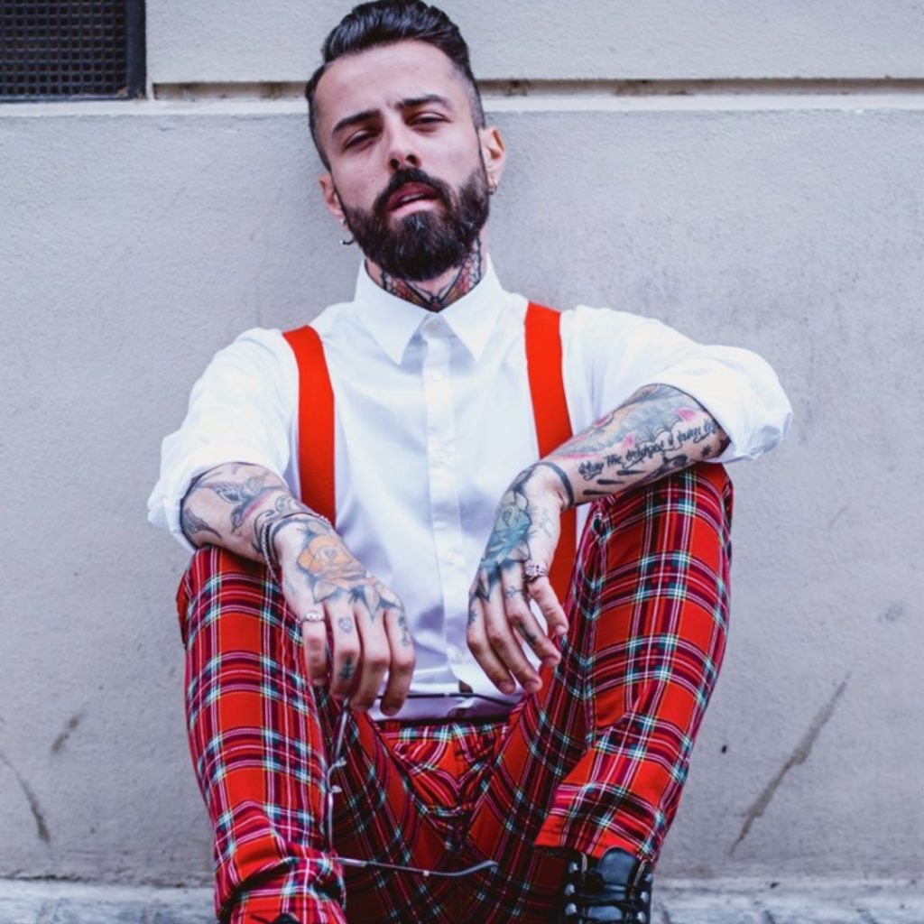Dan Pontarlier | Sustainable Man | Men's White Shirt | Red Tartan Trousers with Braces | Ethical Brand Model