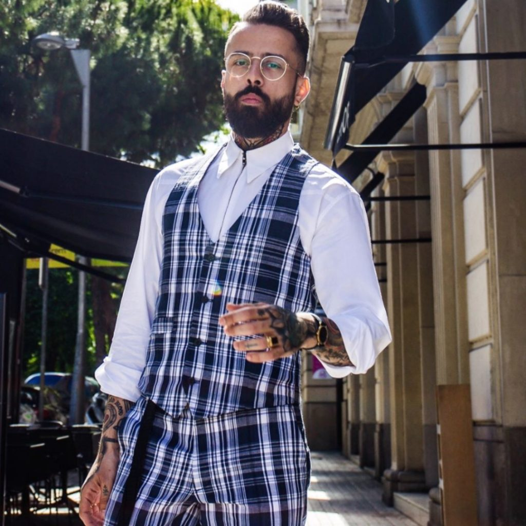 Dan Pontarlier | Sustainable Man | Modelling Conscious Fashion Brand | Blue Tartan Checkered Suit with Waistcoat