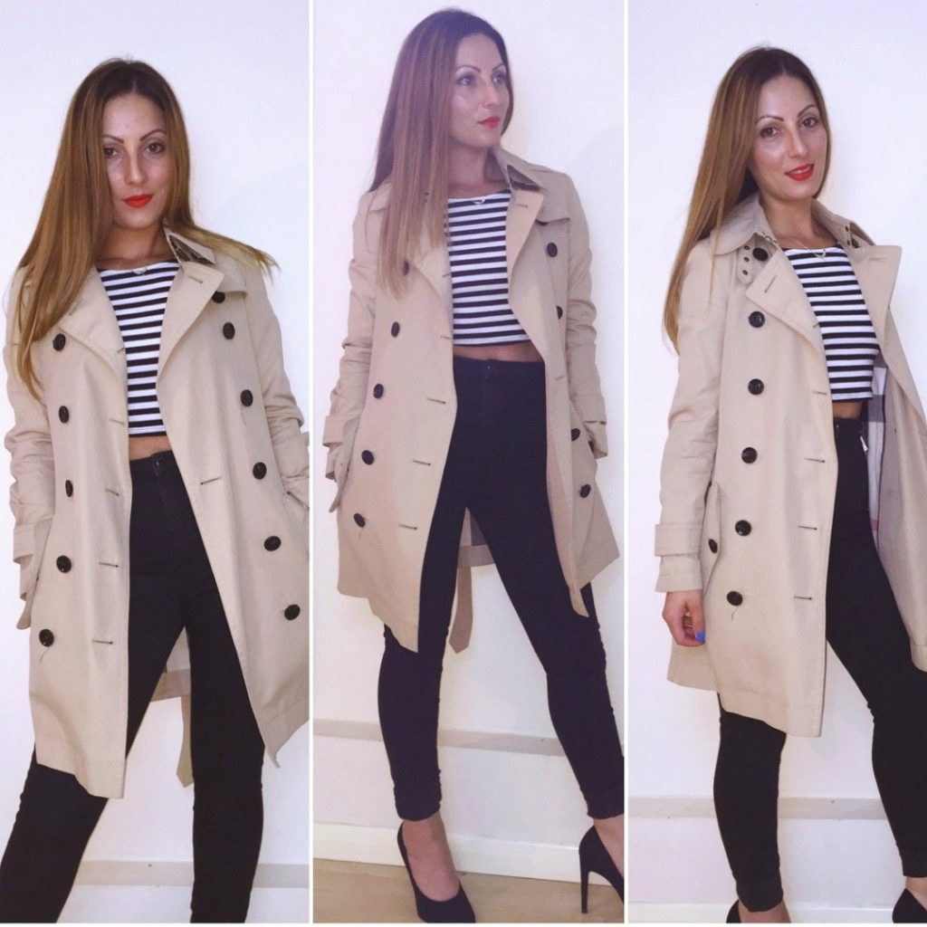 Roberta Lee   Modelling Burberry Mac   Wardrobe Staple   Over 100 wears   Paired with Striped T Shirt, Black Skinny Jeans and Black Heels