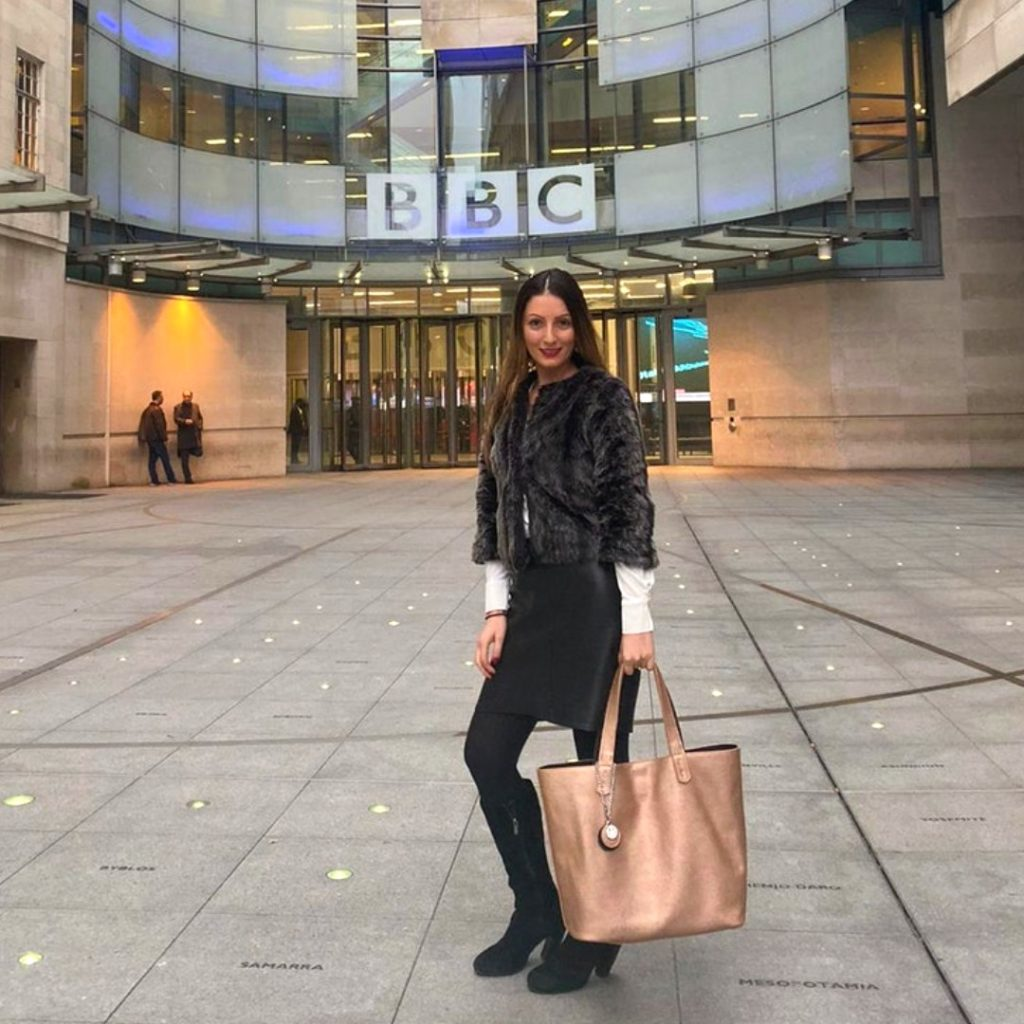 Roberta Lee Interviewed in BBC News Studios   Modelling Ethical Brands and Preloved Fashion   Ethical Faux Leather Tote Bag   The Morphbag by GSK