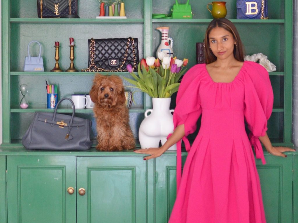 Eshita Kabra | Jacquemus Manosque maxi dress | Pink Dress and Green Shoes
