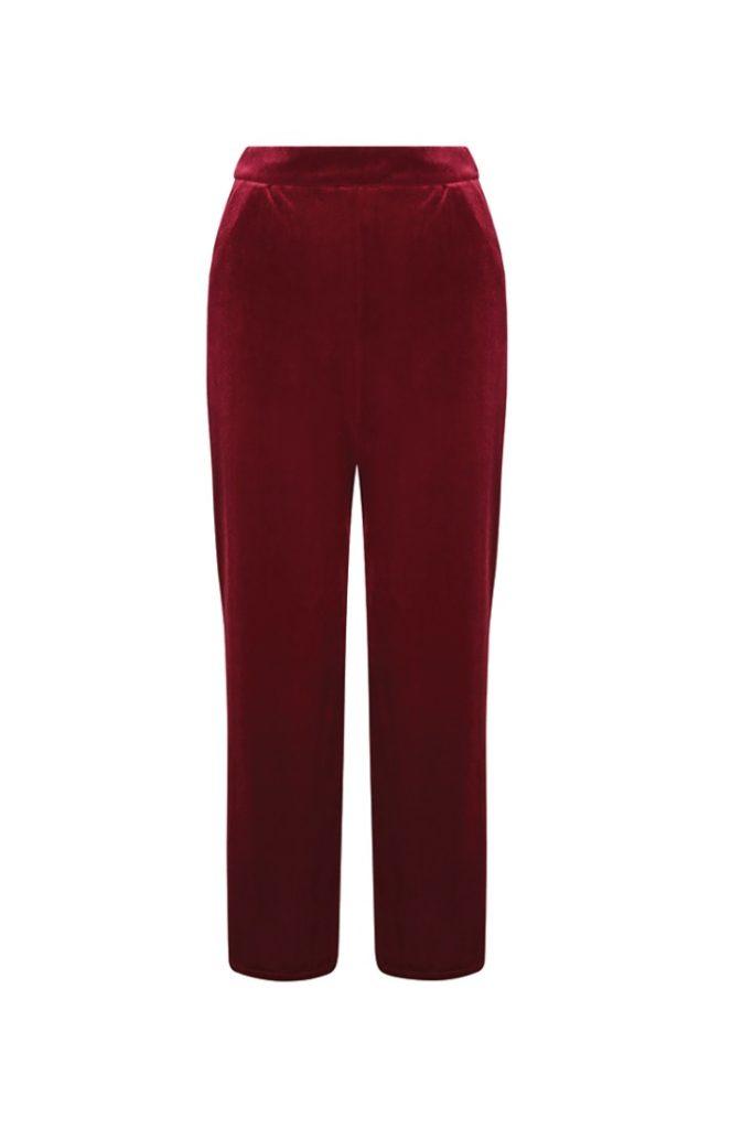 Belles of London - Noelle  Red Velvet Wide Leg Trouser £110