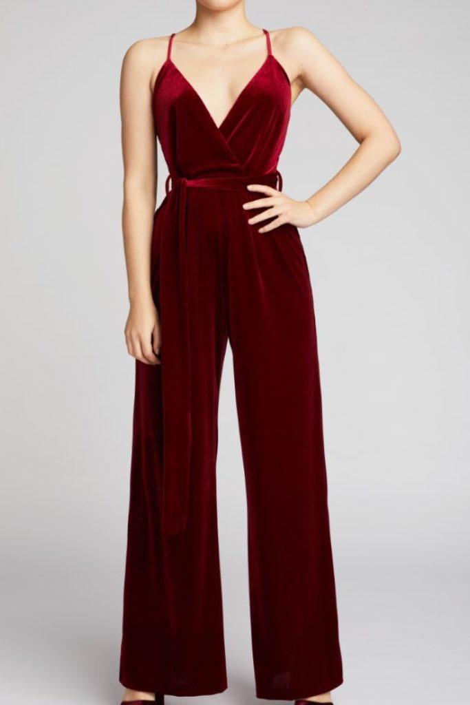 Belles of London Justina Red Velvet Jumpsuit  £125.00