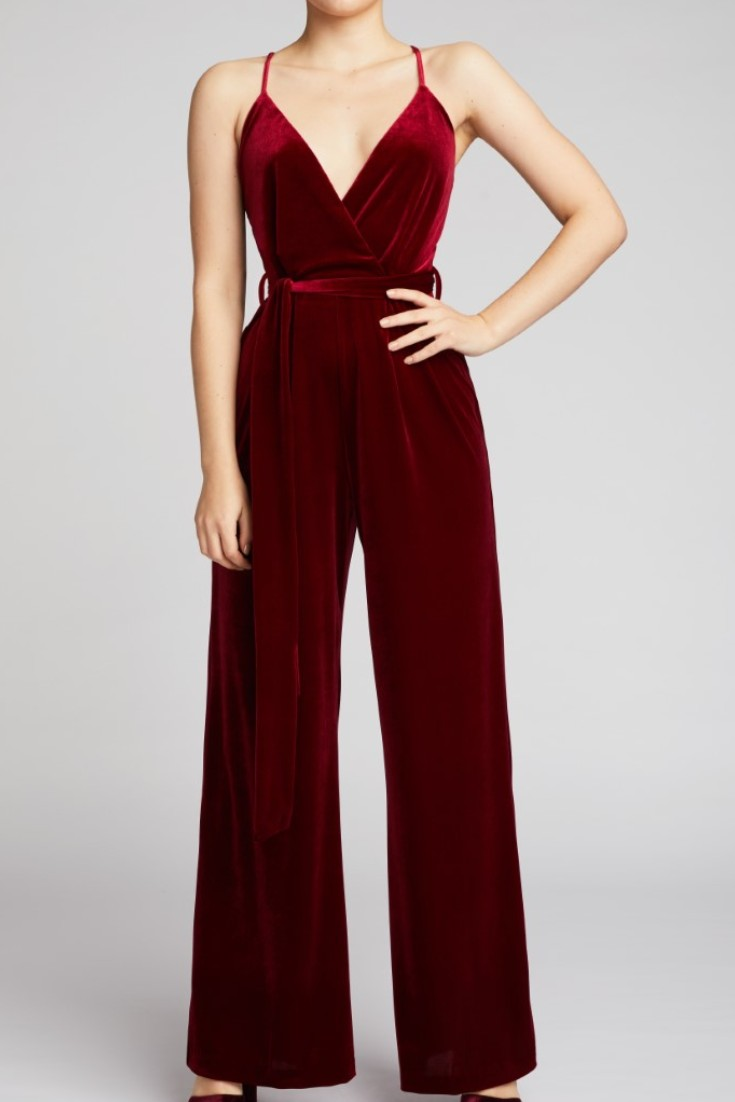 Ethical Red Velvet Jumpsuit by Belles of London