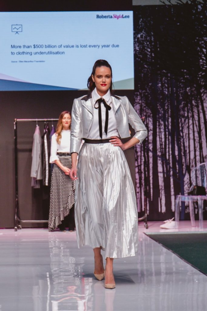 SEO Alt Text: Model Amanda Sarco Styled By Roberta Lee, Pure London Runway Feb 2020 | Conscious Fashion Brands | White Shirt, Silver Skirt