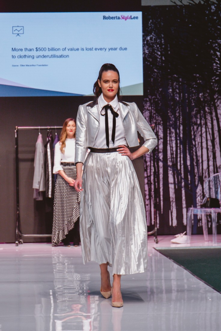 Roberta Style Lee catwalk at Pure London | Sustainable Fashion Stylist | Model: Amanda Sarco In silver dress and Jacket
