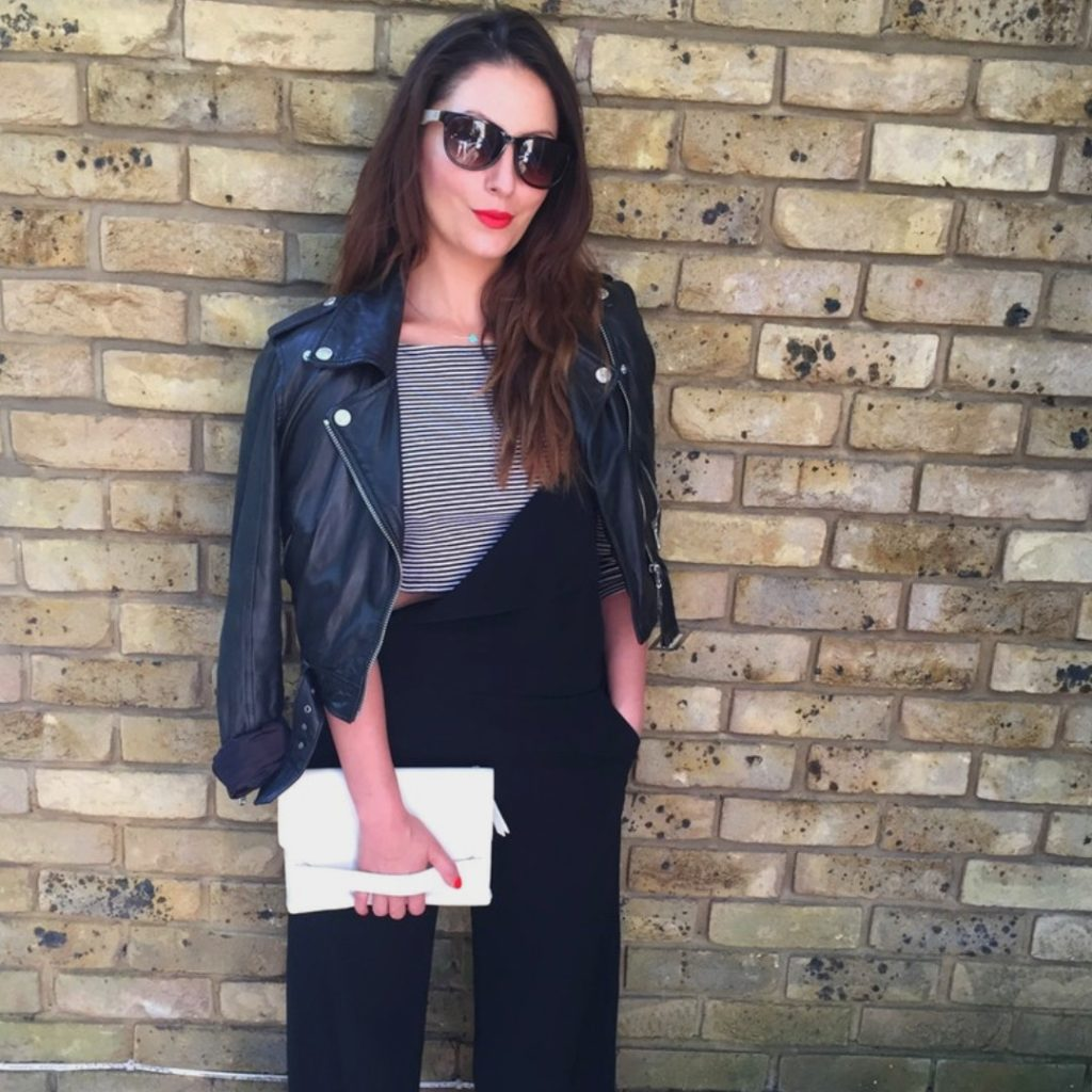 Roberta Lee | London's Sustainable Stylist Wearing Preloved Fashion | Leather Jacket | White Clutch