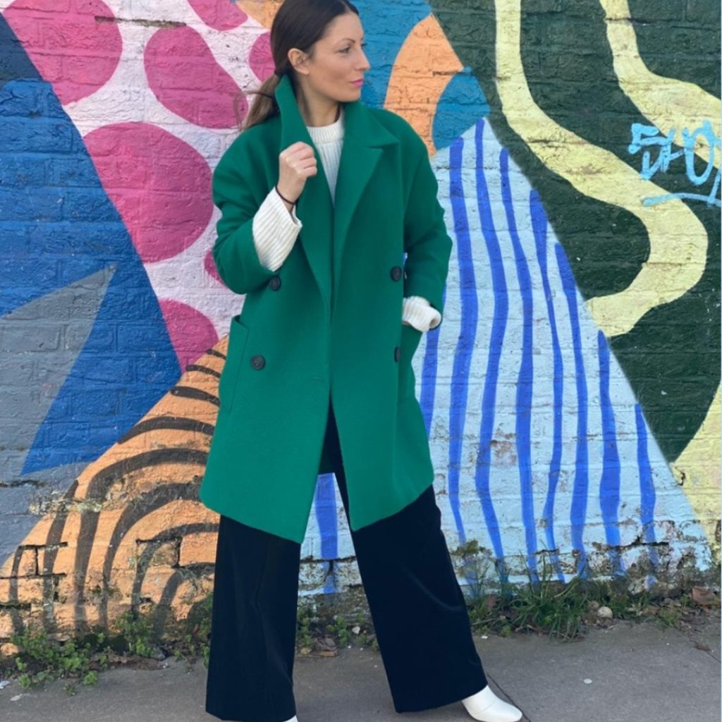 Roberta Lee Wearing Preloved Green Coat | Sustainable Stylist | Ethical Fashion Outfit
