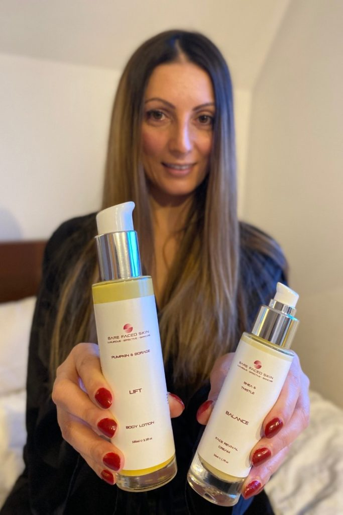 Roberta Lee founder of ethical brand directory tests Bare faced Skin products and gives honest review.   Hold LIFT organic body lotion by Bare Faced Skin and BALANCE organic face cream by Bare Faced Skin
