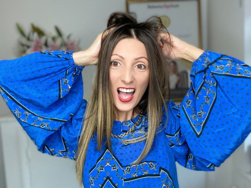 Roberta Style Lee - The Sustainable Stylist - How to Cope with Wardrobe Overwhelm - Waering Blue Ganni Dress and vintage gold chunky Chain