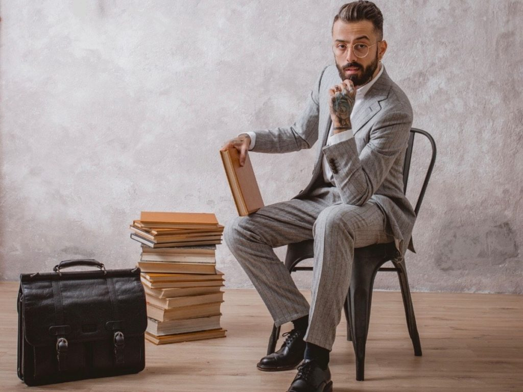 Dan Pontarlier | Sustainability Consultant and Professor | Ethical Grey Suit, Shirt and Bag