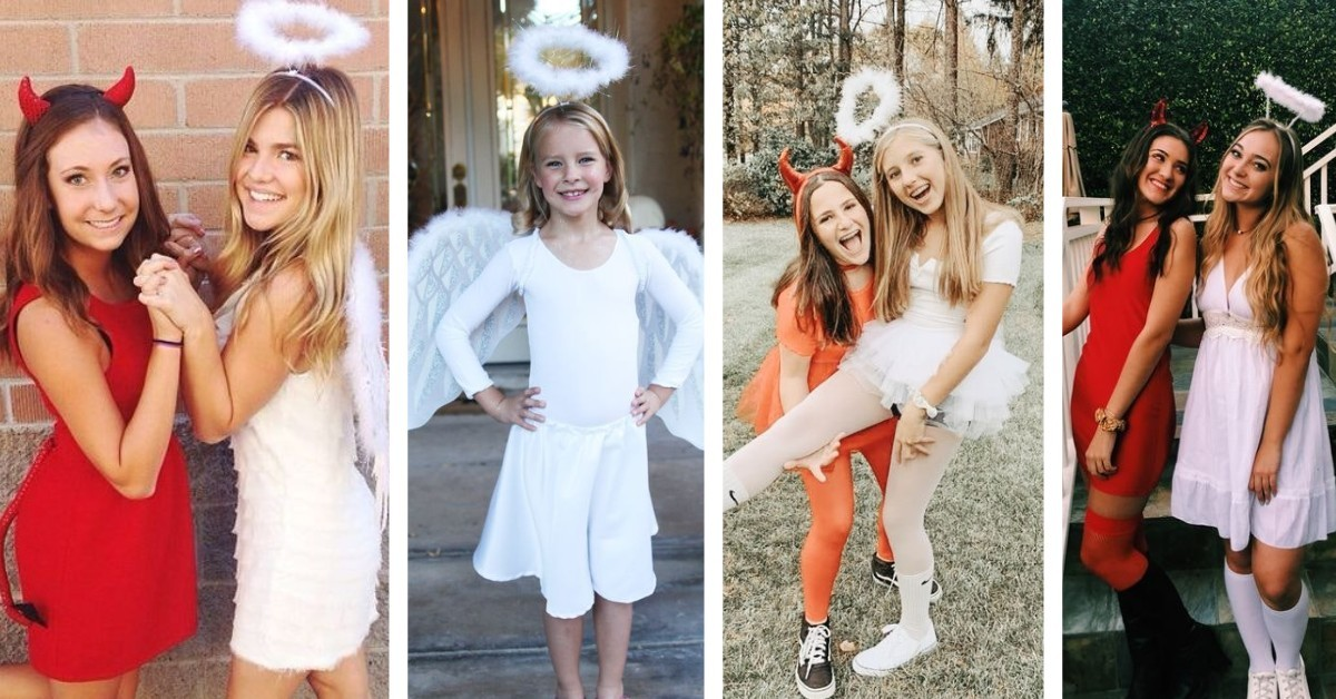sustainable Halloween costumes - devil and angel image