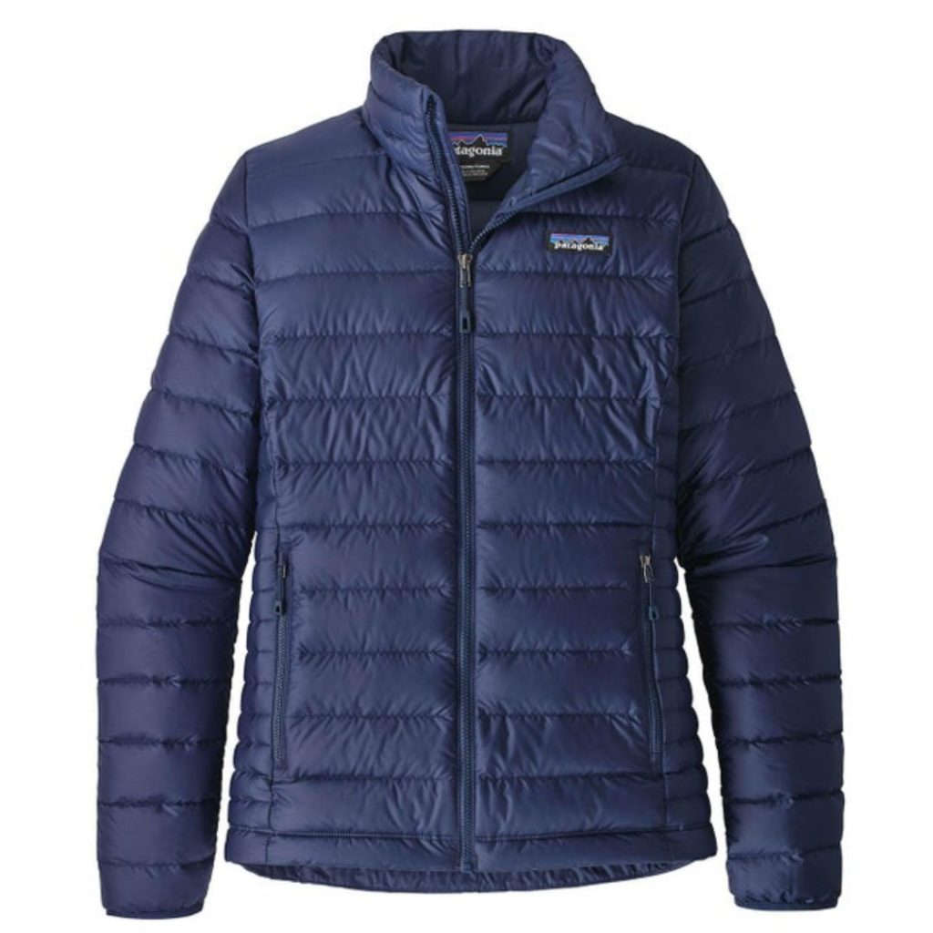 Patagonia blue down sweater jacket | made from recycled polyester fabric | ethical and sustainable fashion brand