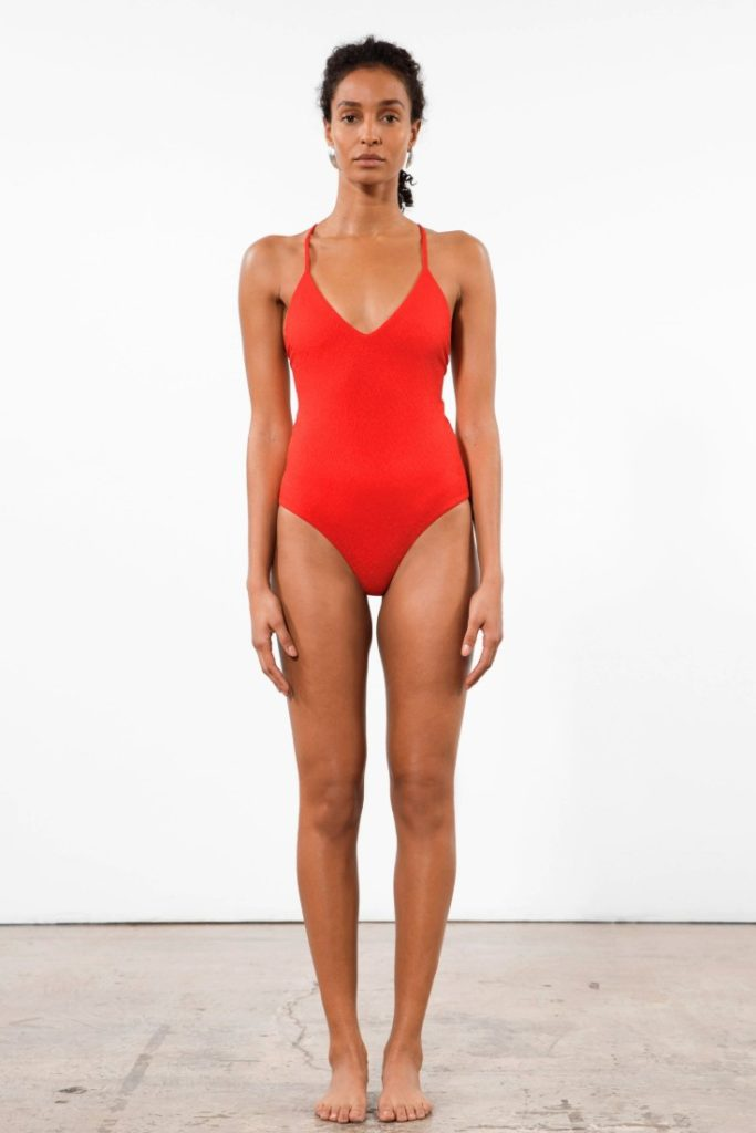 Mara Hoffman | Red Emma One Piece Swimsuit | Made from REPREVE recycled polyester | Sustainable Swimwear Brand