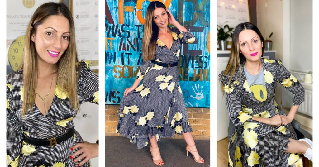 Roberta Lee rewearing checkered dress with yellow flowers | Outfit Repeater | 100 Wears | Livia Firth's 30 wears challenge