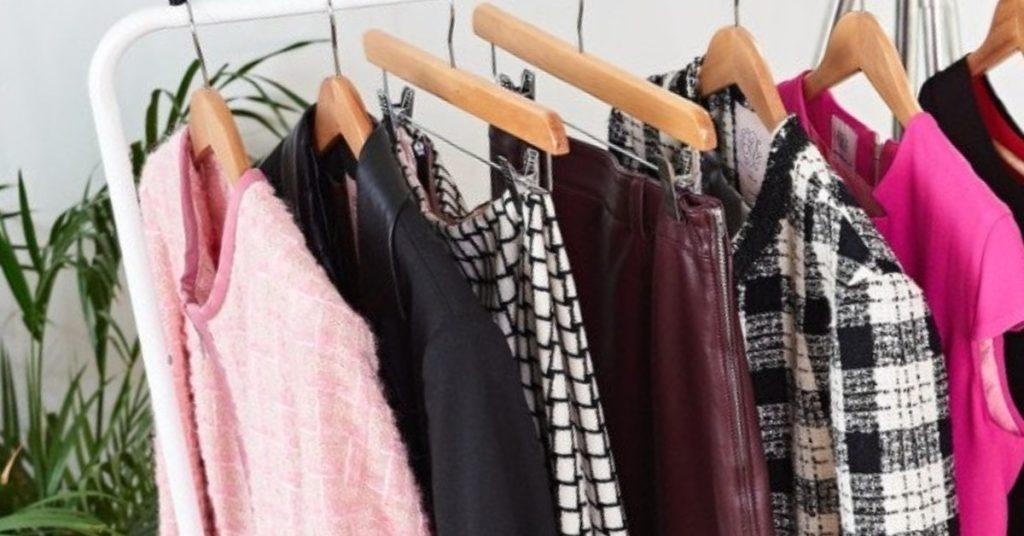 Clothes rail | Pink jacket | Black Leather Blazer | Checkered Trousers | Wardrobe Edit Tips