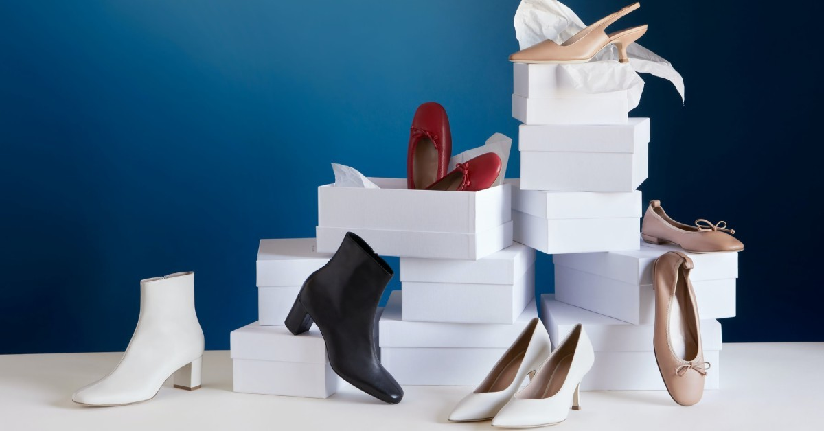 High heels, boots and dolly shoes box display | How to Care for You Footwear and Shoes | Sustainable Wardrobe Tips