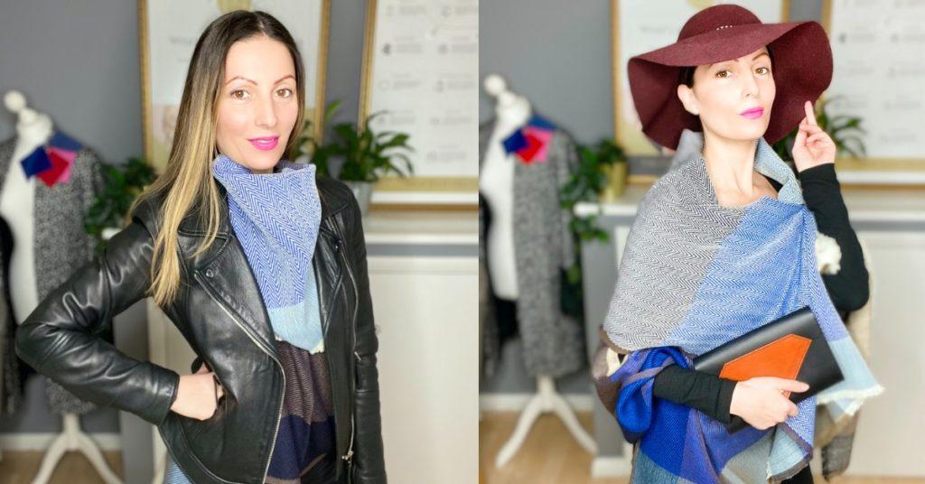 Roberta Style Lee | BLOG | Roberta Lee, London's Sustainable Stylist wearing Jewelled Buddha's Danube Blue Woolen Cape | Holding Tatum Diamond London's Black and Brown Leather Clutch