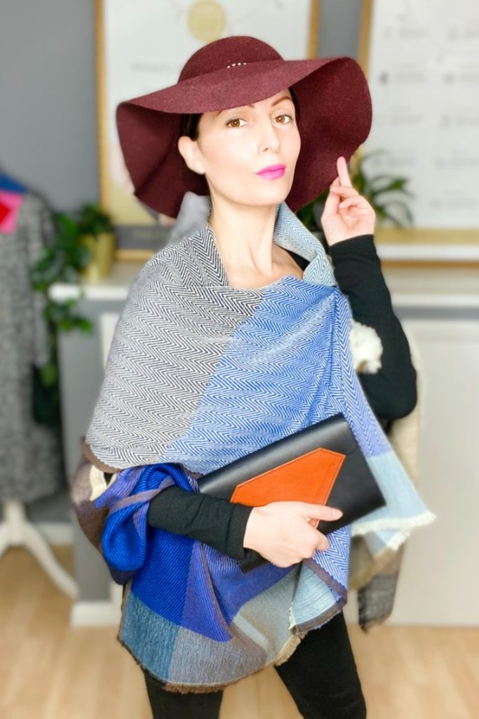 Handwoven Wool Danube Cape by Jewelled Buddha worn by Roberta Lee, London's Sustainable Fashion Stylist.