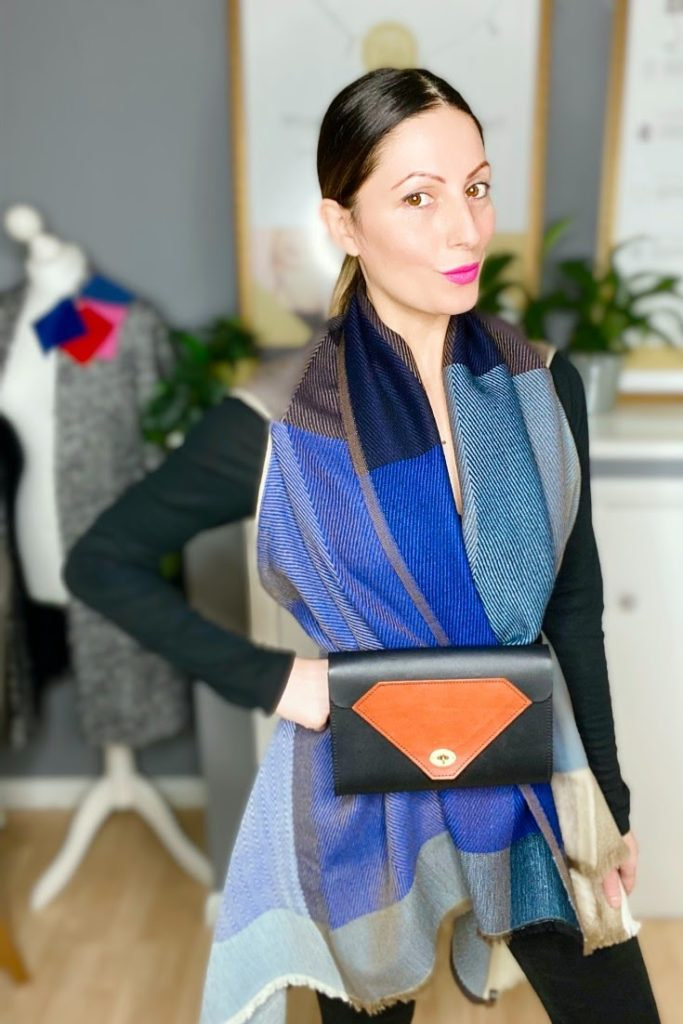 Blue Wool Cape worn as a belted cape with Tatum Diamond leather Belt Bag  | Worn by Personal Stylist, Roberta Lee