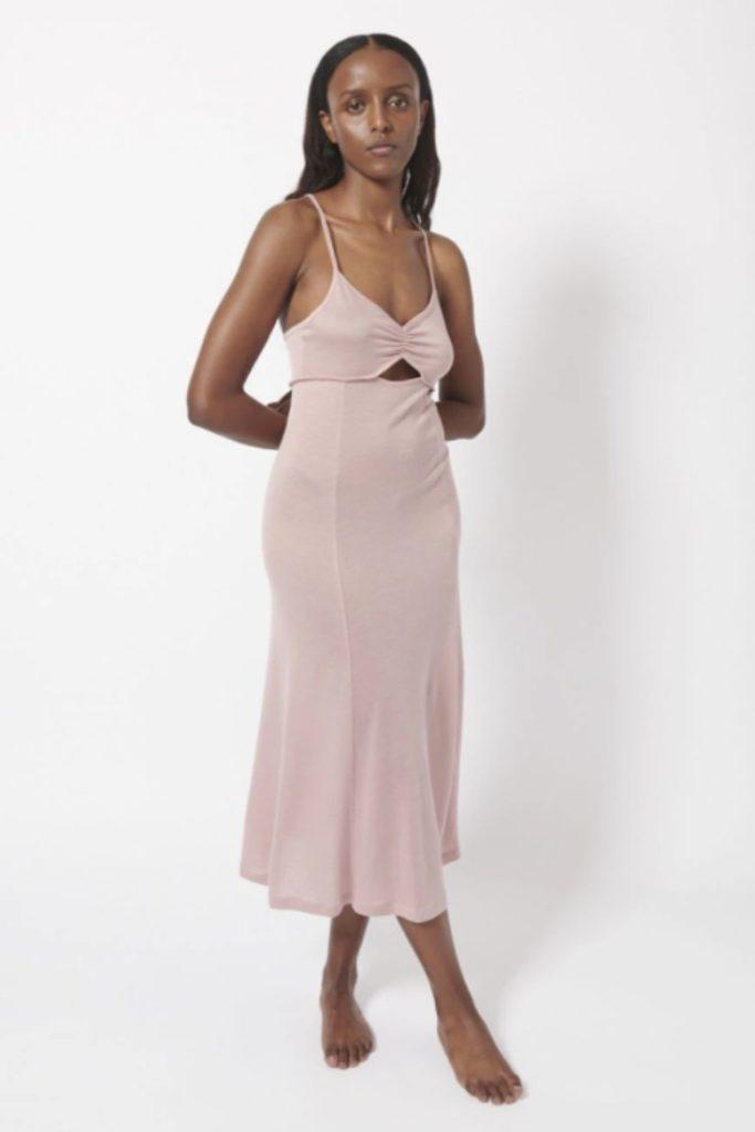 Blush pink midi dress from Ninety Percent | pink cut out dress | sustainable midi dress | Tencel dress