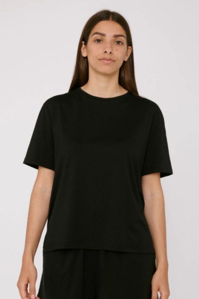 Organic Basics Simple Black T-Shirt | Short SLeeve Black Crewneck Tee | Ethical Basics | Sustainable Wardrobe Staples | Sustainable Stylist Picks